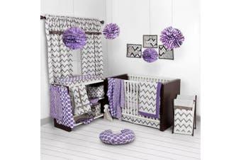 Bacati Ikat Lilac/grey Dots/leopard 4 Crib Set with 2 Muslin Blankets