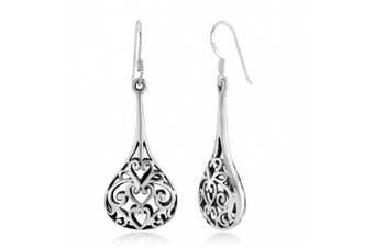925 Sterling Silver Bali Inspired Open Filigree Puffed Teardrop 1.8 inch Dangle Hook Earrings
