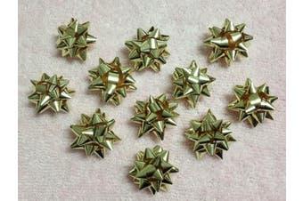 (Gold) - 20pc 2.5cm Metallic Mini Star Confetti Bows Christmas Gift Wrap Bows (Gold)