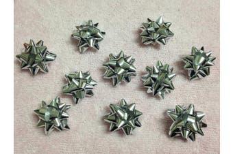 (Silver) - 20pc 2.5cm Metallic Mini Star Confetti Bows Christmas Gift Wrap Bows (Silver)