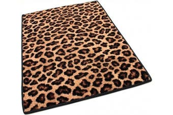 (HALF ROUND 1.2mX0.6m) - HALF ROUND 1.2mX0.6m Indoor Cut Pile Leopold Leopard Print Area Rug for Home with Premium BOUND Polyester Edges.