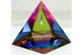 Amlong Crystal Iridescent Pyramid Rainbow Colours With Gift Box, 6.4cm