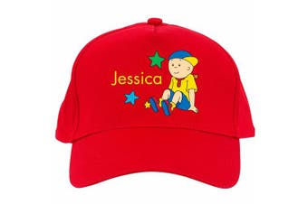 Personalised Caillou Sitting in the Stars Red Baseball Cap
