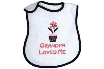 Raindrops A66931P Raindrops -Grandpa Loves Me- Embroidered Bib, Black