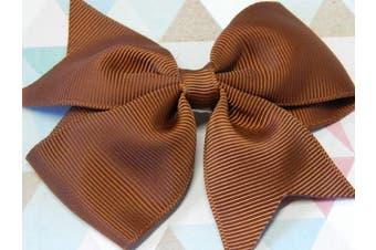 (Chcolate) - BOOLAVARD 8.9cm high quality grosgrain ribbon hair bows,children hair accessories,baby hairbows girl hair bows WITH CLIP (Chcolate)