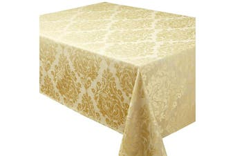 (70x108in-174x274cm Tablecloth Approx, Antique Gold) - Palazzo Damask Antique Gold Christmas Rectangular Tablecloth Ideal For 8-10 Place Settings (70x108in-178x274cm Approx)