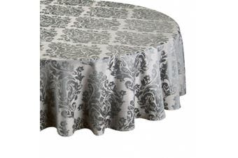 (69in-175cm Diameter Tablecloth Approx, Pewter) - Palazzo Damask Pewter (Greyish) Christmas Round (Circular) Tablecloth Ideal For 4-6 Place Settings (69in-175cm Diameter Approx)