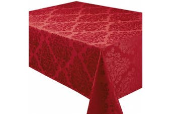 (52x70in-132x178cm Tablecloth Approx, Chateau) - Palazzo Damask Chateau (Red-Burgundy) Christmas Rectangular Tablecloth Ideal For 4-6 Place Settings (52x70in-132x178cm Approx)
