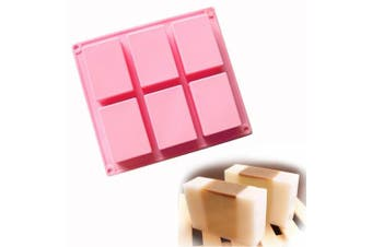 Ozera 6 Cavities Plain Basic Rectangle Soap Mould Silicone Mould for Homemade Craft, Silicone Cake Baking Mould Cake Pan, Biscuit Chocolate Ice Cube Tray Mould.