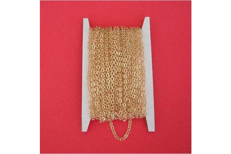 BeadsTreasure 4.6m Spool-Gold Plated Tiny Flat Oval Cross Cable Chain-2.2x1.8mm