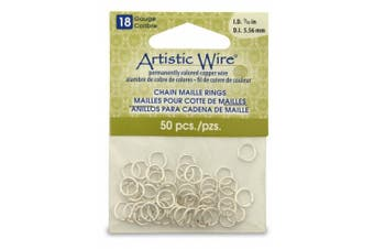 Artistic Wire 18-Gauge Non-Tarnish Silver Chain Maille Rings, 0.6cm Diameter, 50-Pieces