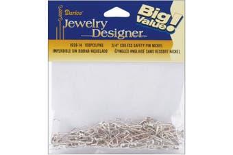 (1, Silver) - Coiless Safety Pins - 1.9cm Nickel 100/Pkg