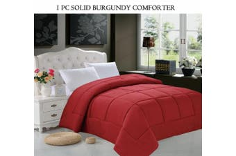 (Twin, Burgundy) - Elegant Comfort® Luxury Goose Down Alternative Double Full Comforter (Duvet Insert), Twin, Burgundy