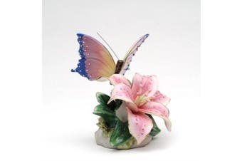 Cosmos 58042 Fine Porcelain Lily with Butterfly Musical Figurine, 8.3cm