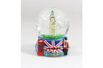 London Snow Globe with Big Ben and Union Jack Flag, 3.5 Inch (65mm) London Snow Globe