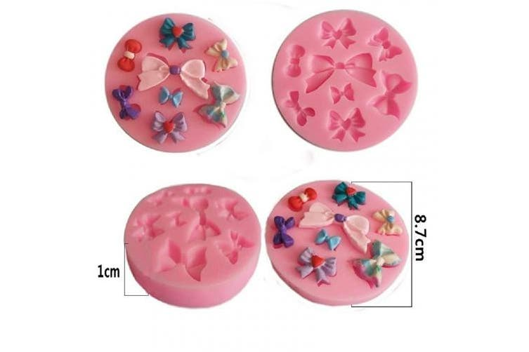 (bow) - Yunko 8 Mini Bows Silicone Mould Fondant Sugar Bow Craft Moulds DIY Cake Decorating