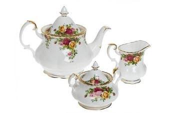 (OLD COUNTRY ROSES 3-PIECE TEA SET (TEAPOT, SUGAR & CREAMER)) - Royal Doulton 652383203570 Old Country Roses 3-Piece Tea Set