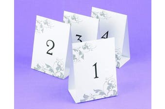 (12cm ) - Hortense B. Hewitt Wedding Accessories Tent Style Table Numbers 1 Through 40, Black Ink on White with Grey Flourish