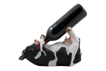 Drinking Cow Wine Bottle Holder Statue in Country Farm Kitchen Bar Decor Wine Stands & Racks and Decorative Animal Sculpture Gifts for Farmers