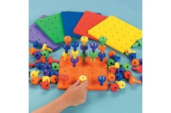 (1 Board and 30 Pegs) - Fun Express Stack It Peg Game with Board Occupational Therapy for Austism, Various Colours, (IN-57/2146), (1 Board and 30 Pegs)
