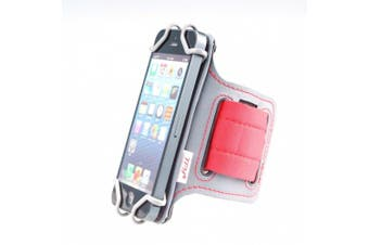 (Gray/Red) - TFY Open-Face Sport Armband + Key Holder for 4 Inch to 5.8 Inch Cell Phone (will only fit depth of phone corners:_9.2mm) - (Open-Face Design - Direct Access to Touch Screen Controls) - iPhone 5 / 5 S iPhone6 (Plus) - Neuxs 5 - Lumia 925 /