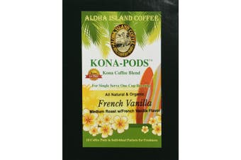 (18 French Vanilla Pods) - Senseo Pods of French Vanilla Flavoured Kona Blend Coffee, 18 Pods, Reusable Pod Adapter is Available for Keurig K-cup Brewing Systems