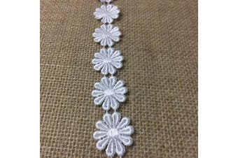 (White) - 3 Yard Lot, Beautiful 10 Pedal Venice Lace Daisy Trim, Thick Quality Item, 2.5cm
