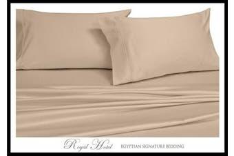 (California King, Beige) - California King Beige Silky Soft bed sheets 100% Rayon from Bamboo Sheet Set