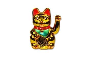 Battery Operated Maneki Neko Lucky Fortune Cat Waving Arm Gold