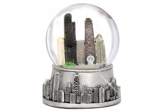 8.9cm Chicago Snow Globe, Silver Base and Colour Inside Glass Globe, Chicago Snow Globes with Skyline and Landmarks