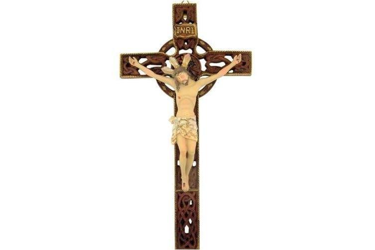 Triquetra Trinity Knot Design 25cm Resin Hanging Crucifix Irish Celtic Wall Cross
