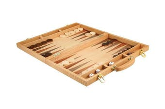 Christopher Wood Backgammon Set - 46cm Suitcase Board Game with Wooden Pieces - Extra Large