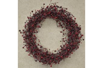 Wreath - 50cm Country Berry Pips Burgundy Red - Rustic Primitive
