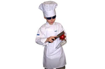 XL CHEFSKIN CHEF SET Kids Children Chef Jacket + Apron +Hat , EXCELLENT COSTUME FOR HALLOWEEN, CHRISTMAS, SCHOOL fits kids 8-11 years old