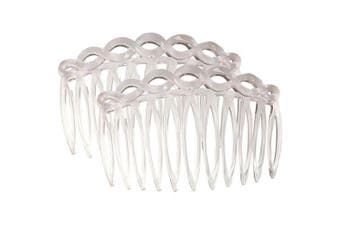 (Clear) - Camila Paris French Side Comb Set of 2 Small Rounded, Clear, Strong Hold Grip Hair Clips for Women, No Slip and Durable Cellulose Styling Girls Hair Accessories, Made in France Clear