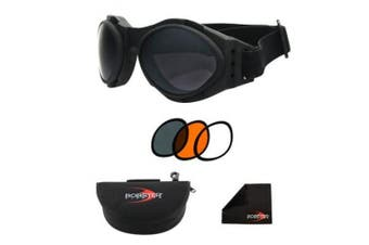 Bobster Eyewear BA2C31AC Bugeye 2 Interchangeable Goggle Black Frame 3 Lenses