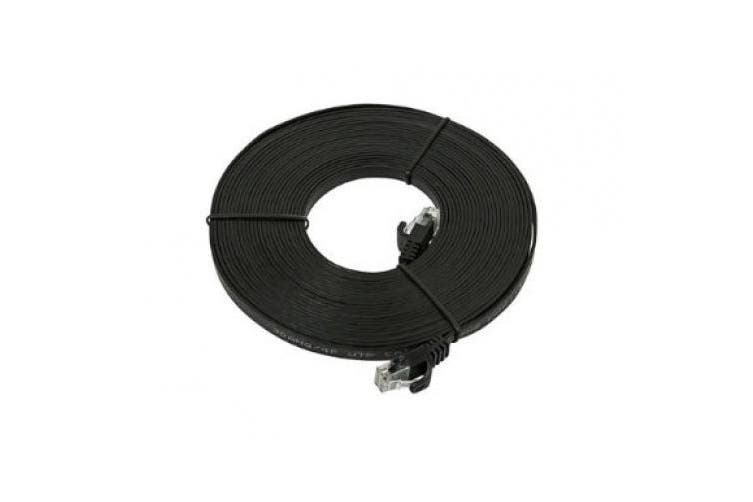 7.6m 30AWG Cat5e 350MHz UTP Flat Bare Copper Ethernet Network Cable - Black