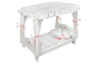 Badger Basket White Rose Doll Canopy Bed (fits American Girl Dolls)