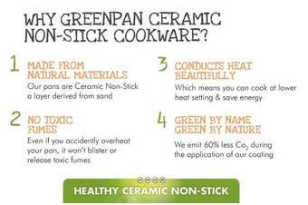 (25cm , Black) - GreenPan Lima 25cm Ceramic Non-Stick Open Frypan with Bonus Bamboo Turner