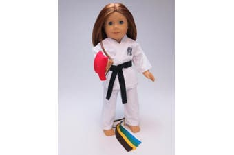 Kickin' Karate Outfit - 46cm Doll Clothes - Includes 6 Colour Belts and 1 Red Punch Bag