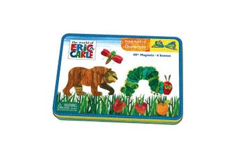 (Magnetic Characters) - Mudpuppy Eric Carle The Very Hungry Caterpillar and Friends Magnetic Character Set– Ages 3+ - Magnetic Play Set with 4 Scenes, 40+ Magnets – Great for Travel, Quiet Time–Magnets Adhere to Tin Package