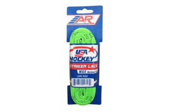 (Lime, 300cm ) - A & R Striker Ice Hockey Waxed Skate Laces, Pro Style Heavy Duty Lace