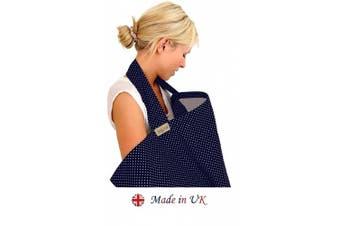 BebeChic * 100% Cotton * Breastfeeding Cover *105cm x 69cm* Boned Nursing Apron - with Storage Bag - navy blue / white dot