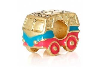 Charm Buddy Gold Plated Pink Blue Camper Van Charm Bead fit Pandora Bracelets