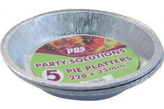 5 x ROUND FOIL PIE DISH - 23cm x 3.5cm disposable tray.