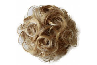 (honey blonde mix # 86H613 D12) - PRETTYSHOP BUN Up Do Hair Piece Hair Ribbon Ponytail Extensions Draw String Scrunchy Scrunchie Curly or Messy