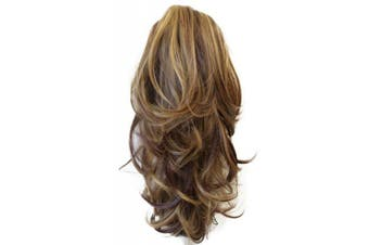 (Blond brown mix # 33H27 H95) - PRETTYSHOP 36cm & 110g Hair Piece Ponytail Extension Straight Light Curled Nature Looking Heat-Resisting Different Colours (brown blonde mix H95_33H27)