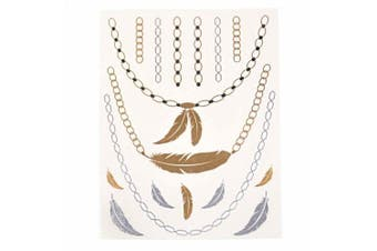 (TA009) - Metalic Gold / Silver Temporary Tattoos, Shimmer Tattoo, Feather Necklace
