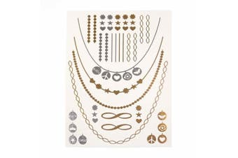 (TA005) - Metalic Gold / Silver Temporary Tattoos, Shimmer Tattoo, Peach, Heart with Chain