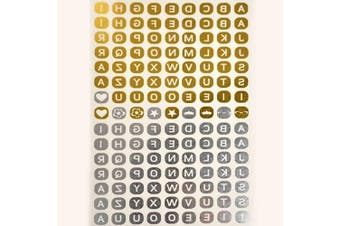 (TA014) - Metalic Gold / Silver Temporary Tattoos, Shimmer Tattoo, Alphabet